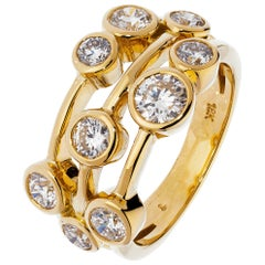 Yellow Gold 1.50 Carat Contemporary  Diamond Ring