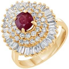 2.64 Carat Burmese Ruby Diamond Ballerina Cluster Ring