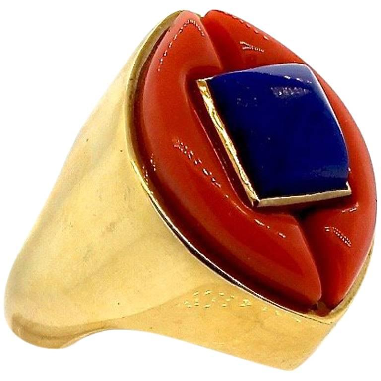 Modernist Gold Lapis and Coral Gold Statement Ring For Sale