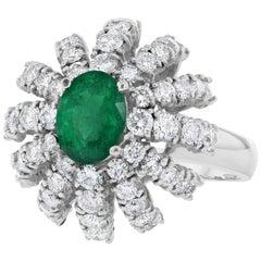 2.98 Carat Emerald Diamond Dome Ring