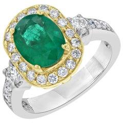 2.43 Carat Emerald Diamond Engagement Ring