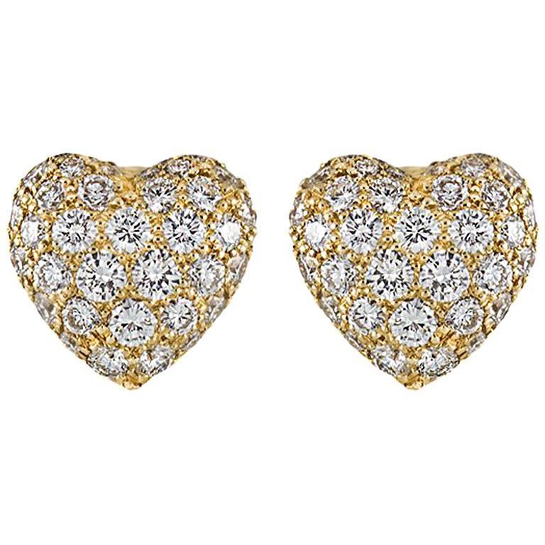 Cartier Yellow Gold Diamond Heart Earrings