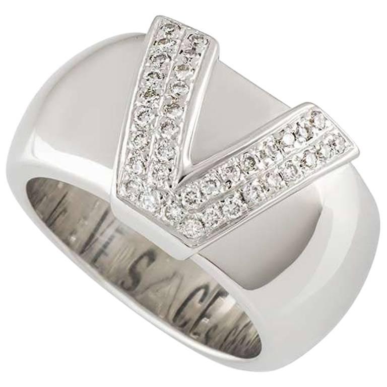 Versace White Gold Diamond Ring For