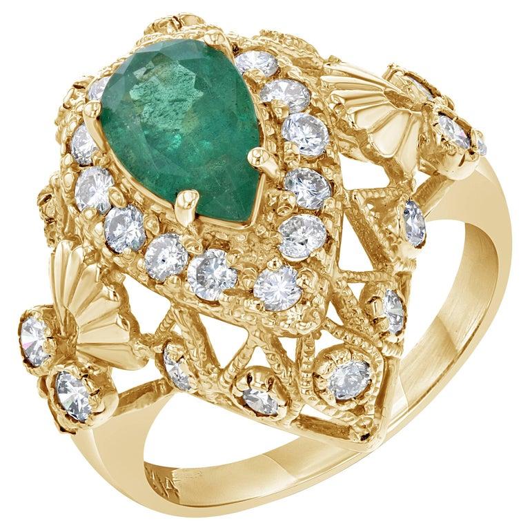 2.75 Carat Emerald Diamond Art Deco Cocktail Ring