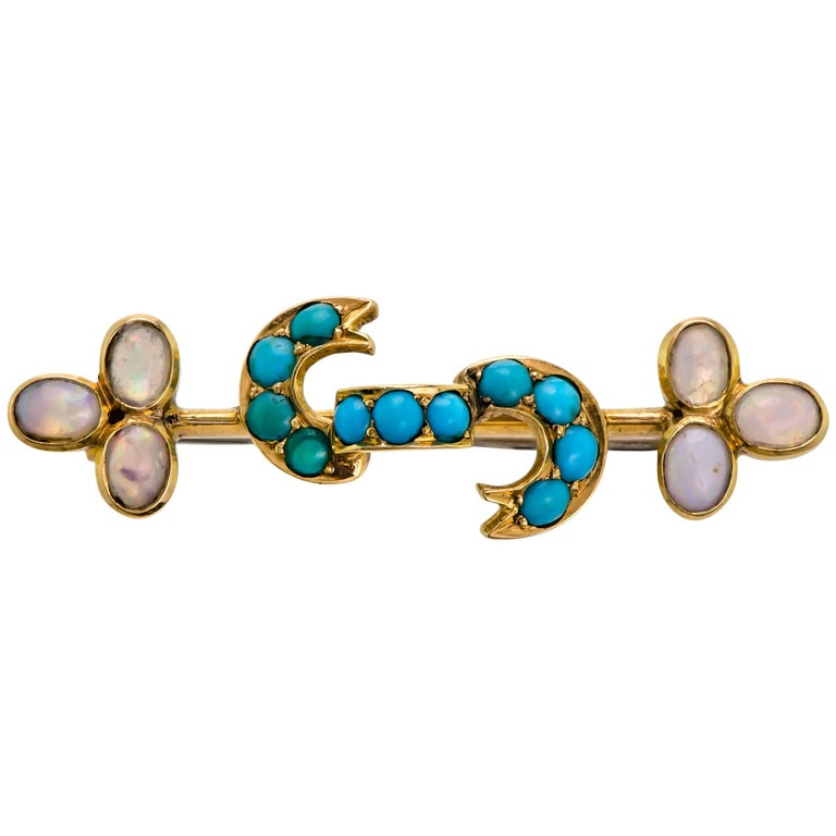 Diminutive Antique Opal, Turquoise and Yellow Gold Bar Pin Brooch