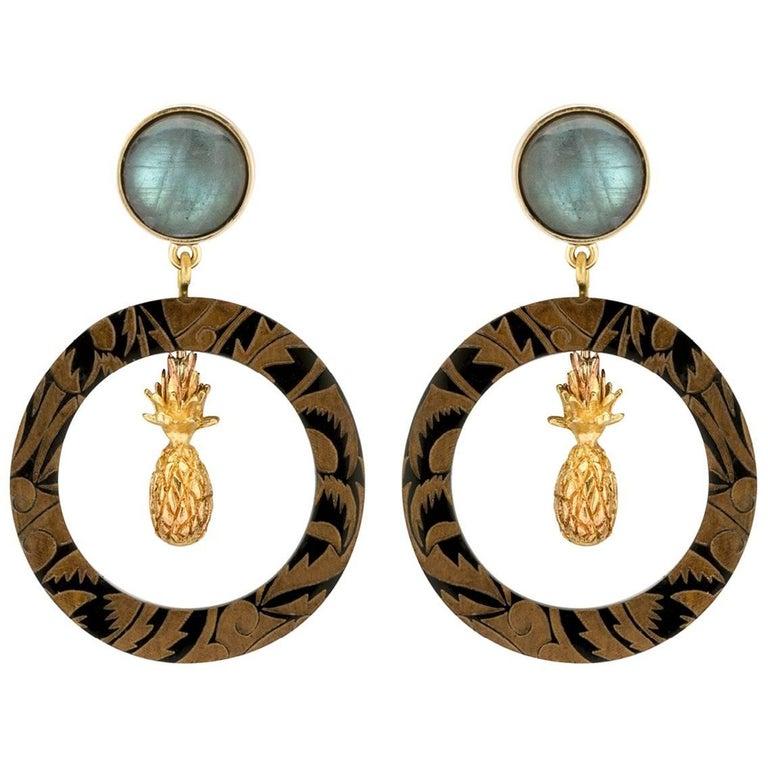 Fouché Earrings Hoop Art Deco Labradorite Pineapple