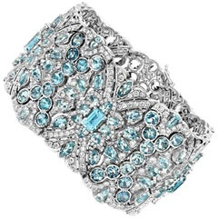 Aquamarine and Diamond  White Gold Bracelet