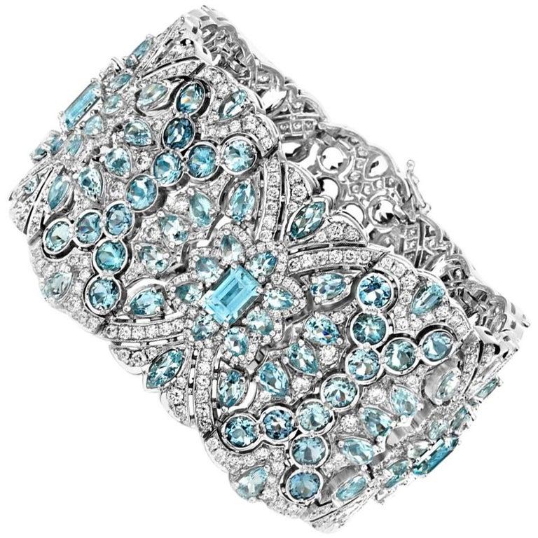 Aquamarine and Diamond  White Gold Bracelet