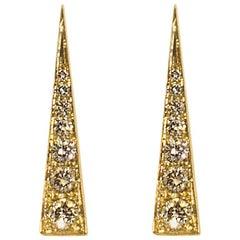 Daou Spark Diamond Earrings in Yellow Gold, Convertible Modern Dynamic Earrings