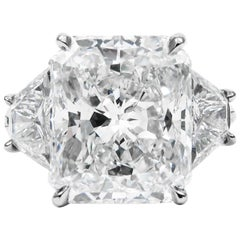 GIA Certified 7.03 Carat E Color Radiant Cut Diamond Platinum J. Birnbach Ring