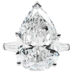 GIA Certified 8.14 Carat Pear Shape Diamond G VS2 Platinum Ring by J Birnbach