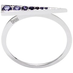 Daou Spark Ring in Iolite and White Gold, Dynamic and Delicate Stacking Design
