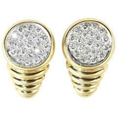1970s Pave Diamond Ribbed Gold Clip Earrings