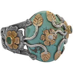Emma Chapman Turquoise Diamond Emerald Yellow Gold Silver Ring