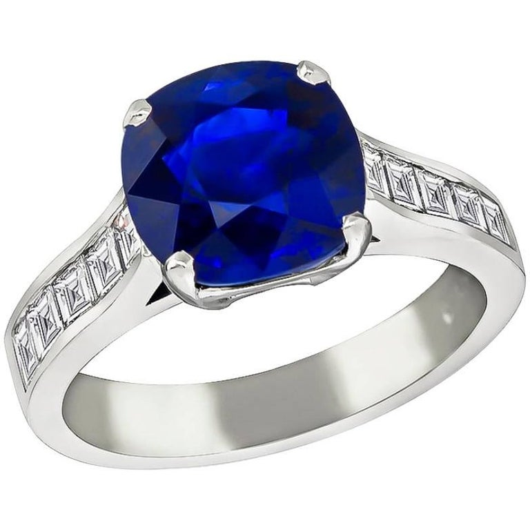 Stunning 4.17 Carat Sapphire Diamond Engagement Ring