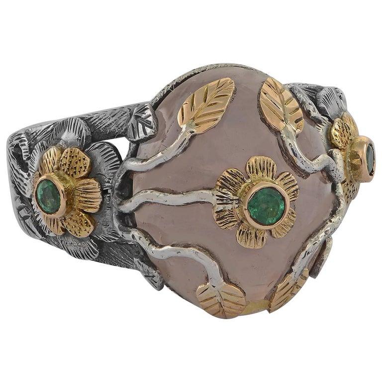 Emma Chapman Rose Quartz Emerald Yellow Gold Ring