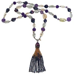 Black Pearl Sautoir with Amethyst, Citrine, Blue Topaz, Aquamarine 14 Karat Gold