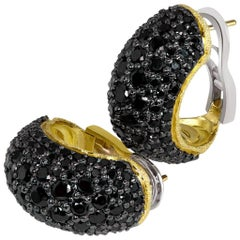 Alex Soldier Spinel Textured Yellow Gold Hoop Earrings One of a Kind Handmade
