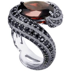 Alex Soldier Garnet Spinel White Gold Textured Ring One of a Kind Handmade in NY