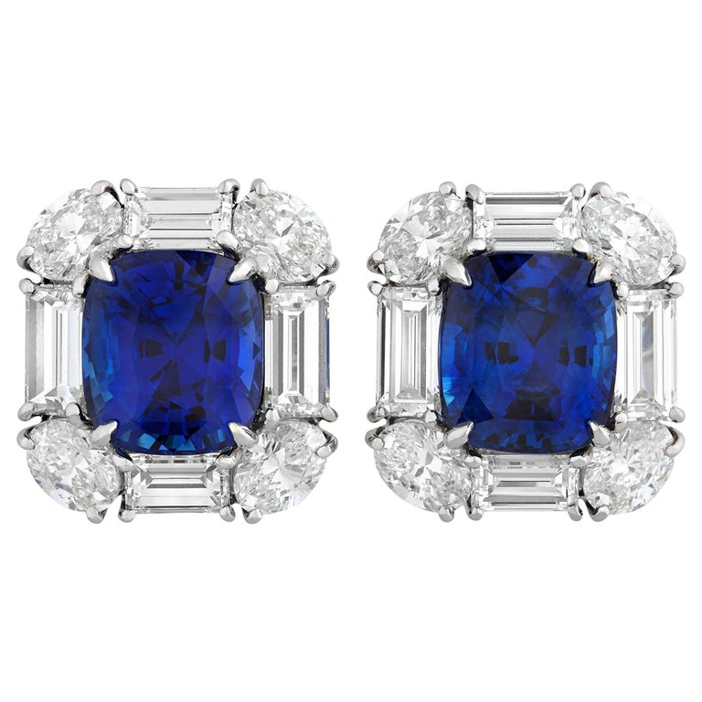 Sapphire and Diamond Earrings, 11.26 Carat