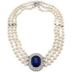 Mikimoto Tanzanite, Diamond and Pearl Choker Necklace in 18 Karat White Gold