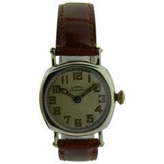 Hampden Nickel Silver Art Deco Cushion Shaped Military Style Manual Wristwatch