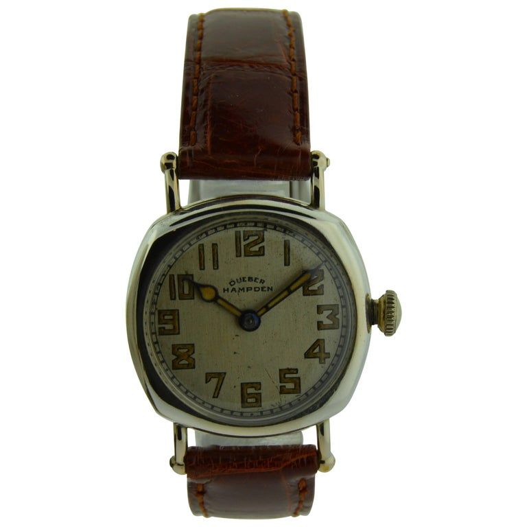 Hampden Nickel Silver Art Deco Cushion Shaped Military Style Manual Watch