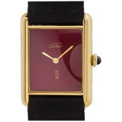 Cartier Vermeil Tank Louis Must de Cartier Burgundy Sunburst Manual Wristwatch