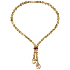 Hammerman Brothers Ruby and Diamond 18 Karat Yellow Gold Lariat Necklace