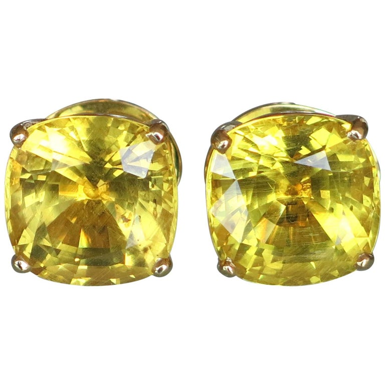 24 67 Carat Natural Yellow Danburite Gold Stud Statement Earrings For