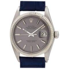 "Rolex White Gold Stainless Steel ""Wide Boy"" Datejust Self Winding Wristwatch"