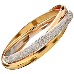 "Trinity de Cartier ""One"" Diamond Tri-Color Gold Bangle"