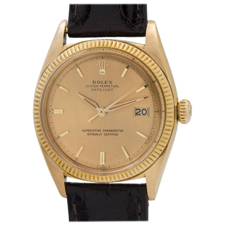 Rolex Yellow Gold Datejust Automatic Wristwatch Ref 1601, circa 1961