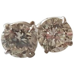 Stunning Solitaire Diamond Earrings Approx 2.8 Carat Total Studs