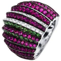 Carlos Udozzo - 18k White Gold Tsavorite Ruby Diamond Cocktail Ring