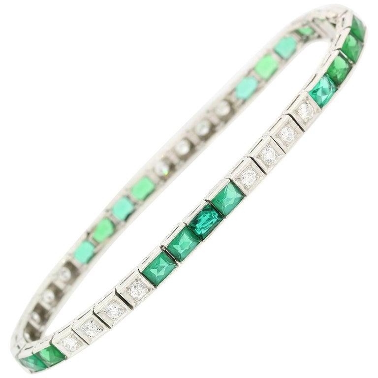 Antique Diamond and Spinel Platinum Bracelet