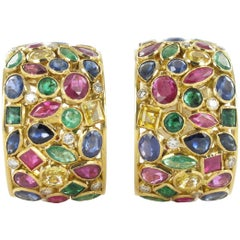 Colored Stones and Diamond Earclips