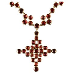Antique Georgian Flat Cut Garnet Gold Collar and Cross, circa 1770