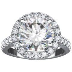 1.73 Carat Round Diamond Halo Engagement Platinum Solitaire Ring