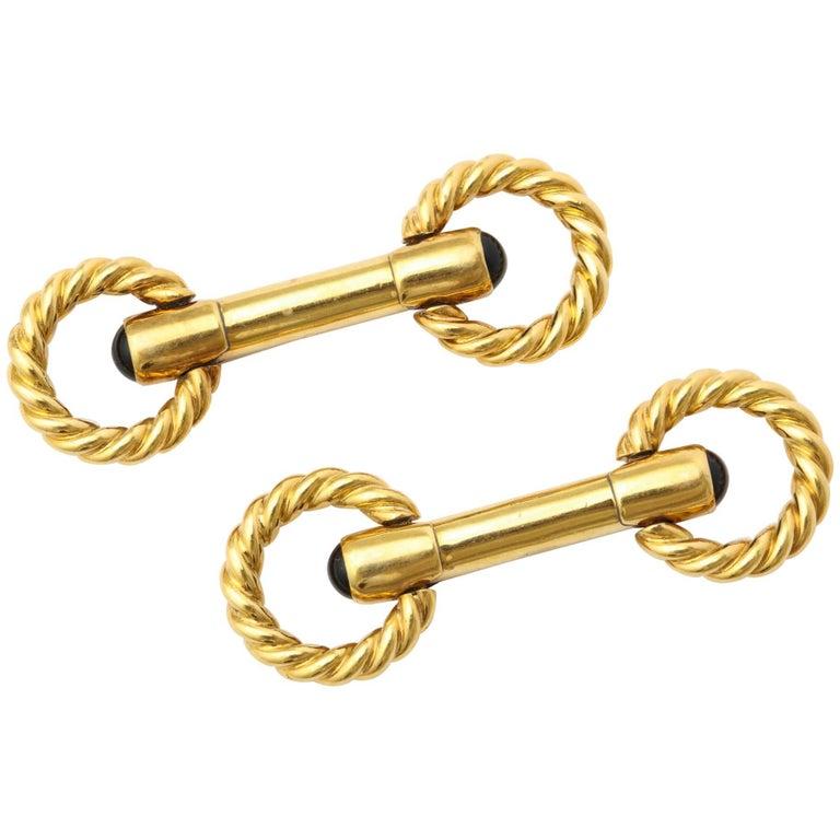 Gold and Sapphire Cufflinks