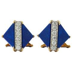 Lapis Lazuli and Diamond Cufflinks