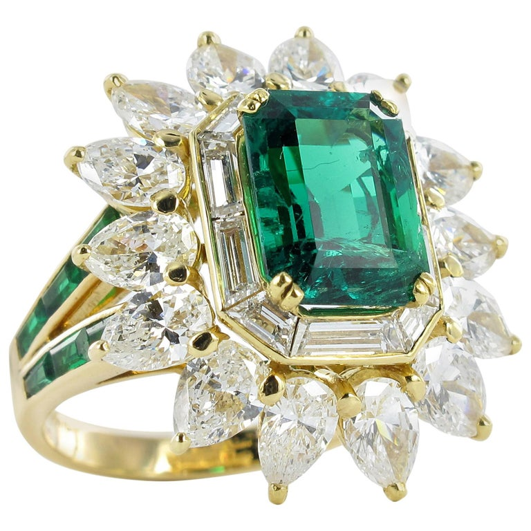 Mauboussin Certified Colombian Emerald Diamond Ring For Sale