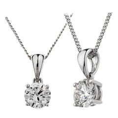 White or Yellow Gold 1 Carat Round Solitaire Diamond Necklace Pendant