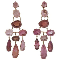 H. Stern Spring Pink Tourmaline Chandelier Gold Earrings