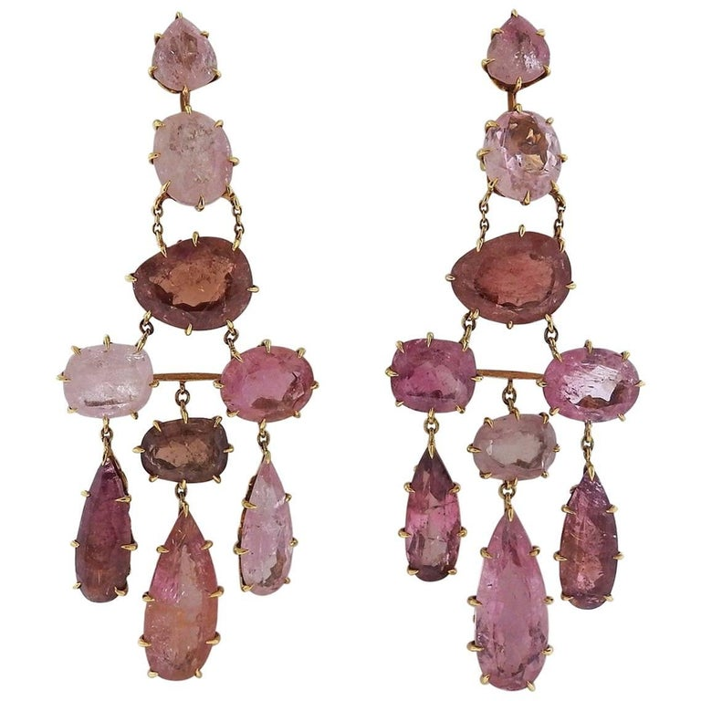 H Stern Spring Pink Tourmaline Chandelier Gold Earrings For