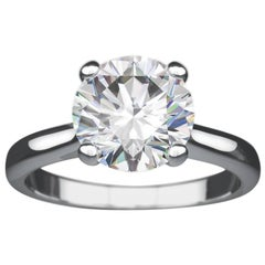 Platinum 2 Carat Round Diamond Cartier Style Solitaire Engagement Ring