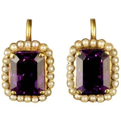 Antique Victorian Gold Amethyst Pearl Earrings 18 Carat Gold, circa 1900