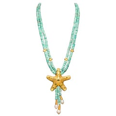 Dancing Apsara Turquoise Peridot Pearl and Yellow Gold Bead Necklace