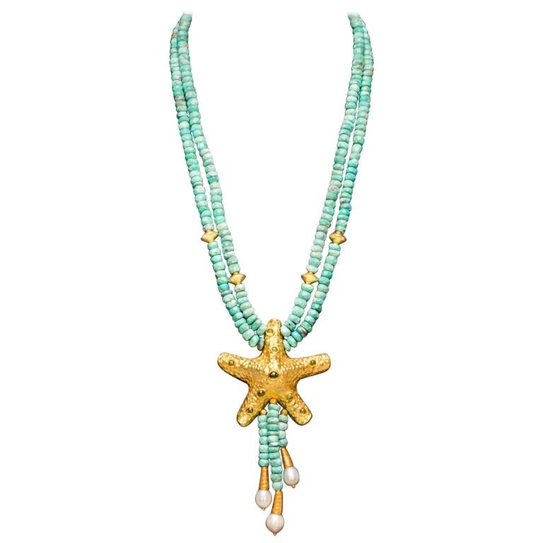 Dancing Apsara Turquoise, Peridot, Pearl and Yellow Gold Bead Necklace