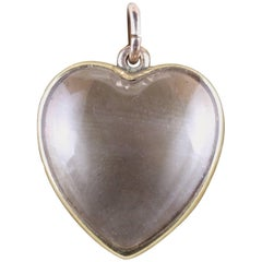 Antique Victorian Boxed Heart Locket Rock Crystal 15 Carat Gold